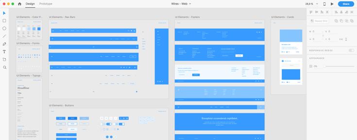 Design-delen i Adobe XD
